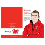 Brochure designed for Variety, the Children's Charity featuring an illustrated Nigel Owens
