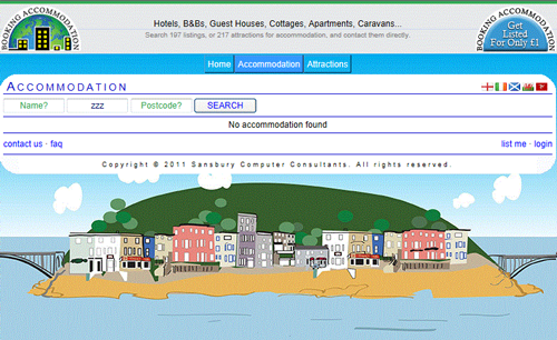 When no search results are shown on this booking website you see the island illustration